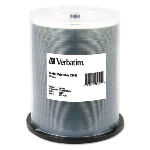 Verbatim CD - R 700 MB、52 x、、インクジェット印刷可能、ホワイト、100 /パック B07B9PY4MS