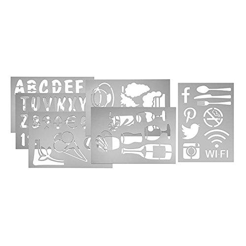 American Metalcraft SECSTN5 Transparent Stencil Set for Restaurant Signage, Assorted Shapes & Letters