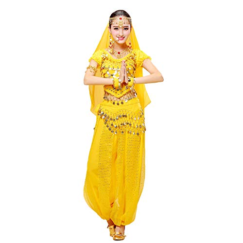Maylong Womens Short Sleeve Belly Dancing Outfit Halloween Costume DW79 (Yellow)]()