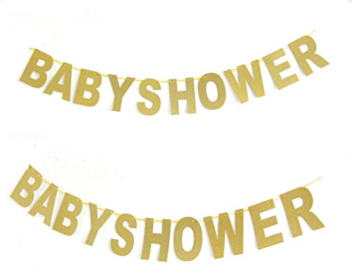 Hemarty Baby Shower Banner Gold Sparkly Glitter Photo Booth Props Garland For Home Garden Kids Party (Babyshower Banners)