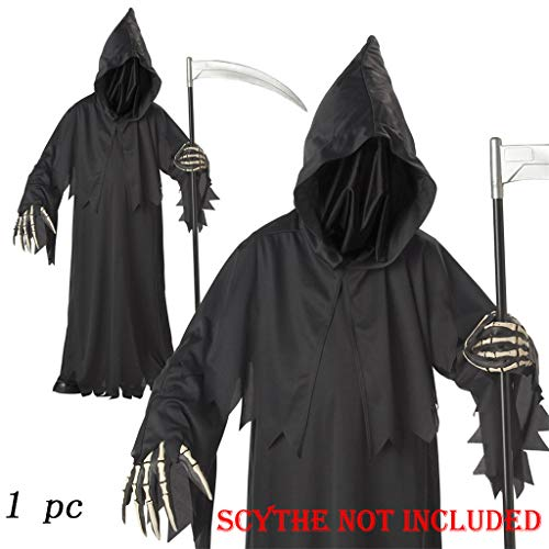 Halloween Grim Face (Shan-S Halloween Grim Reaper Black Robe Hood with Face Cover,Kids Boys Scary Horror Death Fancy Costume One Size Prop with Skeleton Printing Glove (Best Suitable for 5-10 Years)