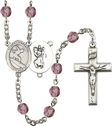 St. Christopher Amethyst Surfing Rosary. Hand Made Silver Plate Rosary with 6mm Fire Polished Amethyst Beads. Featuring a St. Christopher Surfing - Fire Surfing