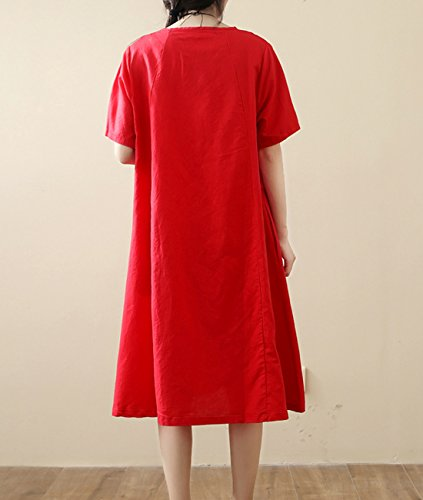 YESNO Long 100 Crew Maxi Real Linen Dress Loose Baggy Y91 Casual Pocket Neck Red Women J00 Sheer rAxqfwFr