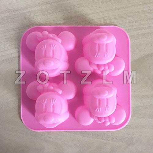 (1 Piece 4 Cartoon Mouse Minnie Shape Silicone Cake Mold Cookie Candy Confectionery Soap Making Tools Kitchen Baking Tools)