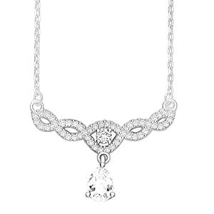 28870a6df Taraash 925 Sterling Silver Intertwined with Teardrop CZ Necklace for Women  NK1467R