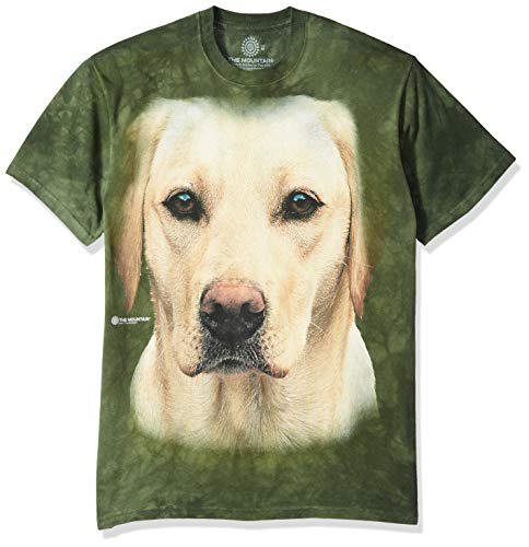 (The Mountain Yellow Lab Portrait Adult T-Shirt, Green,)