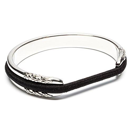 Marias Flowers - Hair Tie Bracelet - Flower Design by Maria Shireen - Steel Silver - Medium