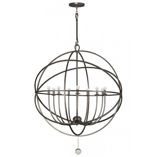 (Crystorama 9229-EB Transitional Nine Light Chandeliers from Solaris collection in Bronze/Darkfinish,)