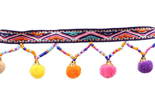Yalulu 5 Yards Black Retro Rainbow Pom Pom Tassel Trim Ball Fringe Ribbon Handwork DIY Sewing Accessory Lace For Home Wedding Craft Party Decoration (Fringe Ball Tassel)