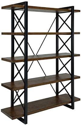 Furniture of America Linley V Industrial 5 Shelf Bookcase in Oak