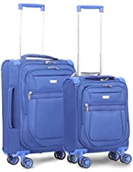 Aerolite 21 & 17 Inch Carry On Lightweight 4 Wheel Spinner Suitcase & Under Seat Set