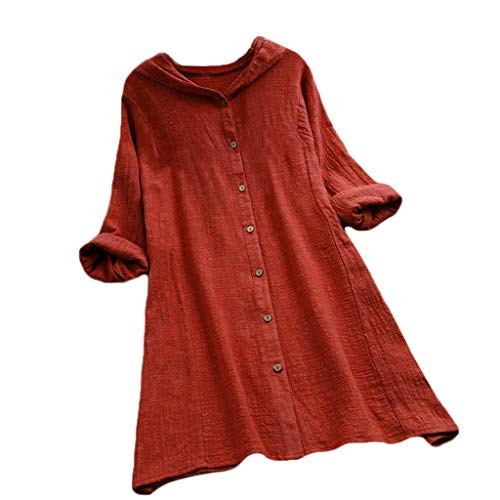 Womens Plus Size Button Long Sleeve Casual Tops Ladies Solid Tee Shirt Hooded Long Blouse Basic Henley Tops (Orange, S) ()