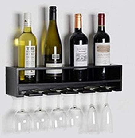 Wall Mounted Wine Rack Black Shelf Bottle Holder Glass Storage