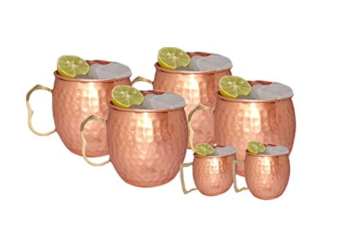 Handcrafted Moscow Mule 100 % Solid Pure Copper Unlined Mug /Cup (16-Ounce/Set of 4, Hammered) with TWO BONUS Shot ()