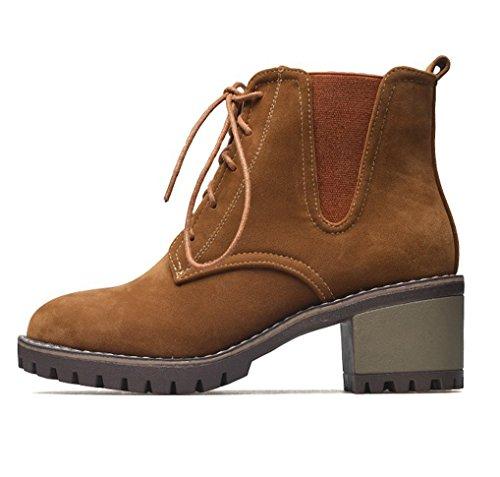Boots Lacets OALEEN Camel de Vintage à Femme Chaussures Bottines Rangers Moyen Talon Ville Suède rIIqfPO