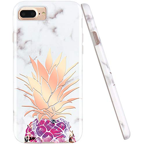 JIAXIUFEN Shiny Rose Gold Pineapple White Marble Desgin Slim Shockproof Flexible Bumper TPU Soft Case Rubber Silicone Cover Phone Case Compatible with iPhone 7 Plus/8 Plus/6 Plus/6S Plus