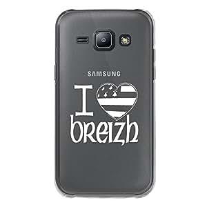 Carcasa rígida transparente para Samsung Galaxy J1SM-J100F con impresión diseño bandera Breton I lo