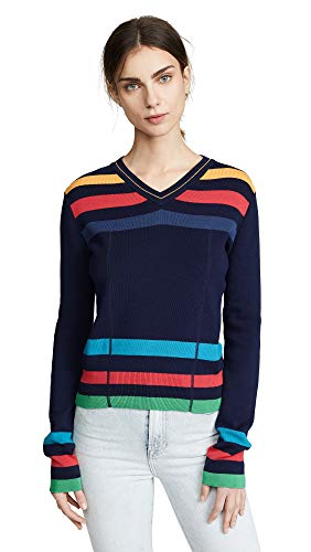 (Paul Smith Women's Vneck Stripe Sweater, Navy Multi, Small)