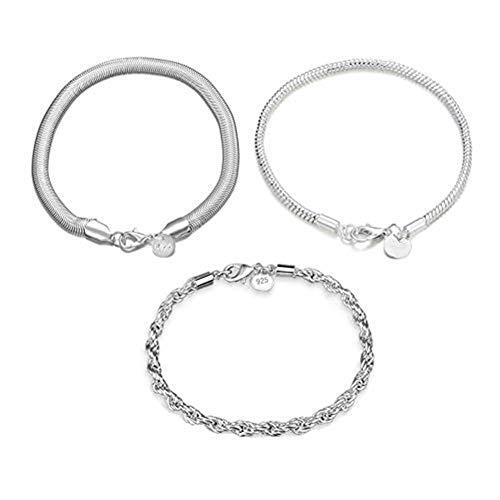 (FannyShop 3 Pieces 925 Sterling Silver Bracelet, 8.42 Inch 4MM Twist Link Bracelet, 8.66 Inch Mesh Flat Chain Bracelets & 7.87 Inch Ball Chain Link Jewelry Set)