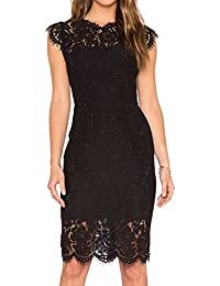 Women's Sleeveless Lace Floral Elegant Cocktail Dress Crew Neck Knee Length Party