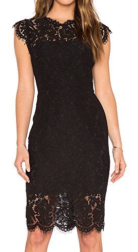 (MEROKEETY Women's Sleeveless Lace Floral Elegant Cocktail Dress Crew Neck Knee Length for Party Black)