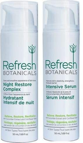 Refresh Botanicals Twin Pack Extra Care Kit- Night Restore Complex and Intensive Serum, Natural and Organic