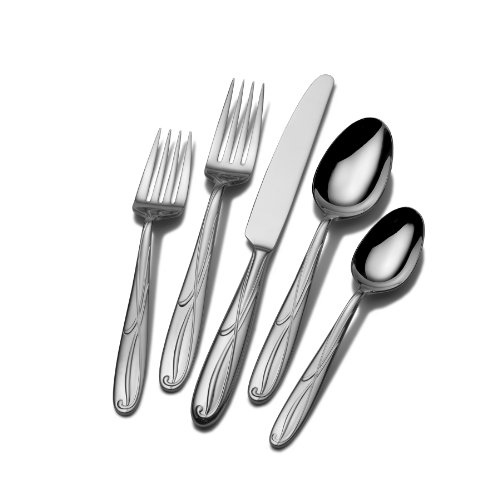 - Mikasa 5061639 Cocoa Blossom 65-Piece 18/10 Stainless Steel Flatware Set with Hostess Serving Utensil Set, Service for 12