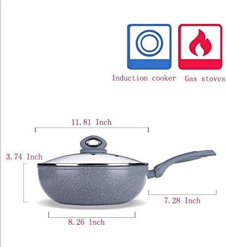 Pot Poêles à frire Wok Poêle à frire avec couvercle en verre trempé, 30 cm, Poêle à frire antiadhésive Poêle à frire en alliage d'aluminium Cuisinière à induction à gaz