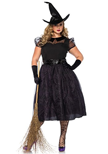 [Leg Avenue Women's Plus Size Darling Spellcaster Costume, Black, 3X-4X] (Lady Reaper Adult Plus Size Costumes)