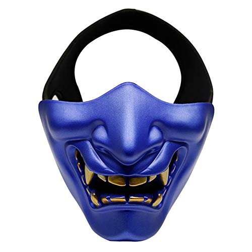 MeiBoAll Halloween Devil Face Mask, Scary Cosplay Half Face Mask, TPU Breathable Classic Smile Prajna Lower Face Mask, Cool Costume Party Mask Decorations for Masquerade Cos Party,Blue]()