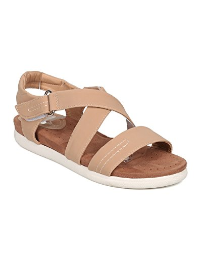 Nature Breeze Women Nubuck Memory Foam Sandal - Comfortable, Everyday, On The Go, Casual - Slingback Sandal - GH22 by Beige (Size: 7.0) - Breeze Womens Sandals