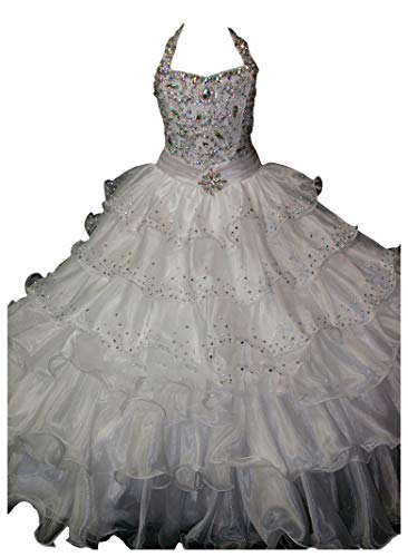 (Hong Girls' Shiny Halter Beaded Ball Gowns Crystals Long Pageant Dresses 6 US White)