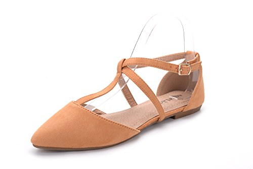 Mila Lady Laurel Womens Pointed Toe Ankle Strap T-Strap D'Orsay Dress Flats Shoes,CAMEL8 ()