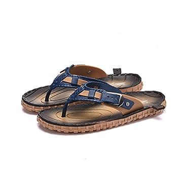 El arrastre de un campo a otro en el verano sandalias y zapatillas para hombres sandalias mango antideslizante y zapatillas de playa grueso pasador roma, ...