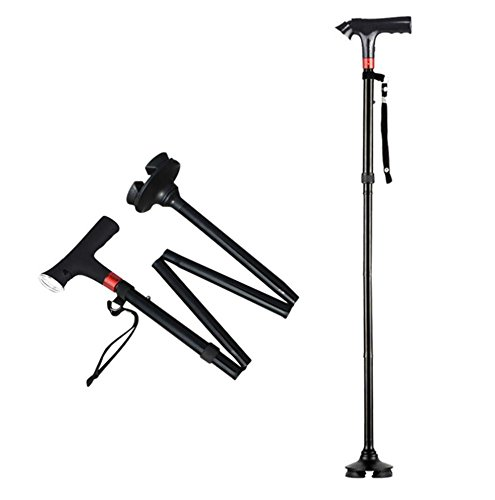 Fold Adjustable Retractable Canes And Walking Sticks For Men And Women - Led Light And Cushion Handle For Arthritis Seniors Disabled And Elderly - Best Mobility Aids Cane 80-102CM by MYT