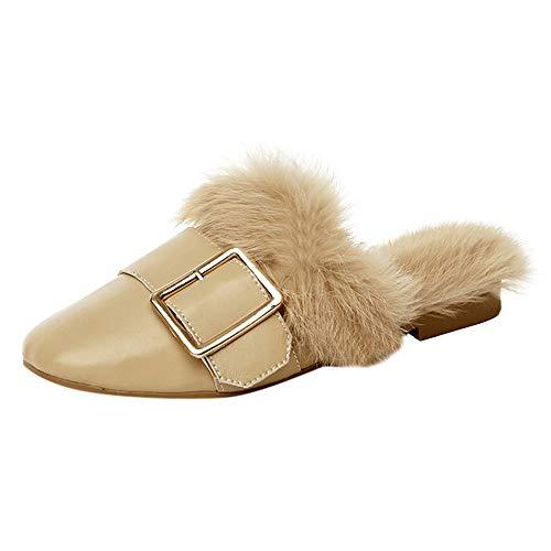 BETTERUU Women's Ladies Fashion Warm Slip On Buckle Faux Fur