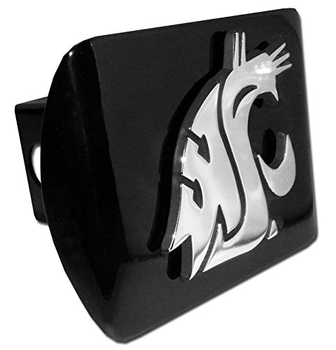 (Washington State Cougars WSU Black Metal NCAA Trailer Hitch Cover Fits 2 Inch Auto Car Truck Receiver)