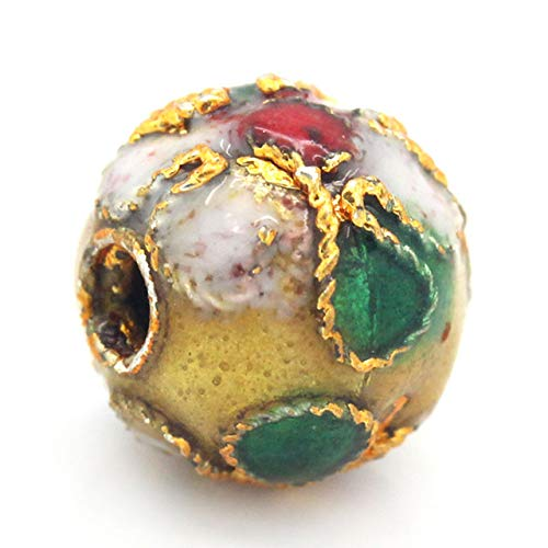 Cloisonne Spacer Beads Round Multicolor Flower Pattern About 8mm(3/8inches) x 7mm(2/8inches), Hole: Approx 1.5mm, 3 - Cloisonne Flower Beads
