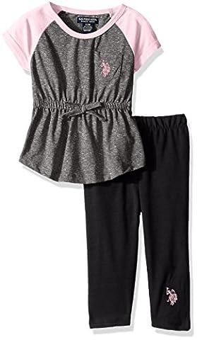 U.S. Polo Assn. Baby Girls' Snowflake Raglan Knit Tunic Top and Legging, Heather Charcoal, 12M - Top Snowflakes