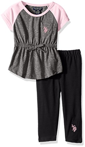 - U.S. Polo Assn. Baby Girls' Snowflake Raglan Knit Tunic Top and Legging, Heather Charcoal, 18M
