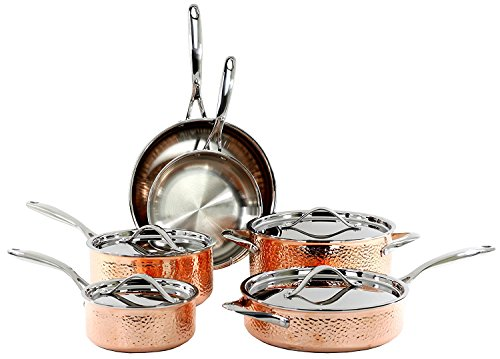 Oneida 10-Piece Tri-Ply Hammered Copper Cookware Set