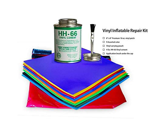 Reliable 9Pk Vinyl Patches 8x8'' w/4fl.oz HH66 Glue Inflatable Bounce House Repair Kit Quick Arrive