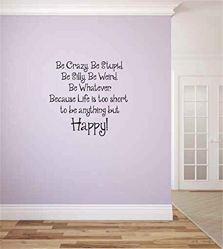 opplaegh Vinyl Wall Sticker Decal Quote Home Decor Wall Decal Quote Be Crazy. Be Stupid. Be Silly. Because Life is Too Short to Be Anything But Happy Vinyl Wall Words D for Living Room Bedroom ()