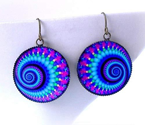 Psychedelic Rainbow Fractal Earrings Mandala Yoga Jewelry Artisan Handmade Black Light UV Reactive Spiral Dangles