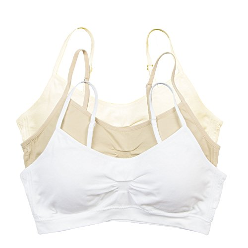 Red Bene Women's Seamless Padded Wirefree Comfort Bra Bralette, Large 3 Pack Nude Ivory White from Red Bene