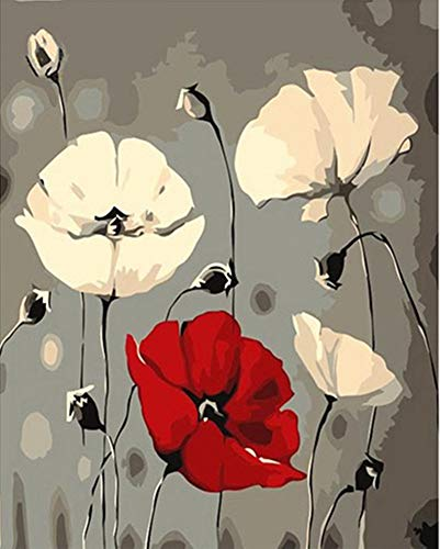YEESAM ART DIY Paint Numbers Adults Beginner Kids, Red & White Poppies Flowers 16x20 inch Linen Canvas Acrylic Stress Less Number Painting Gifts (Red Frame)