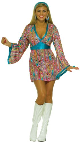 Forum Novelties Women's 60's Revolution Wild Swirl Go-Go Costume, Multi, (60s Wedding Dress Costume)