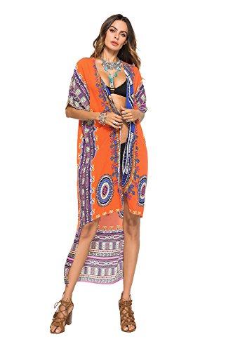 Joygown Stampa Bagno Coprire Solare Costume Arancione Floreale Da Sundresses Donne Lungo Delle Protettiva wxInaZazYq