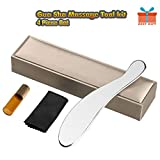 Gua Sha Scraping Massage Tool - 4 Piece Guasha Tool Set for Myofascial Release & Soft Tissue Therapy & Professional Medical Grade Stainless Steel Physical Therapy Tool