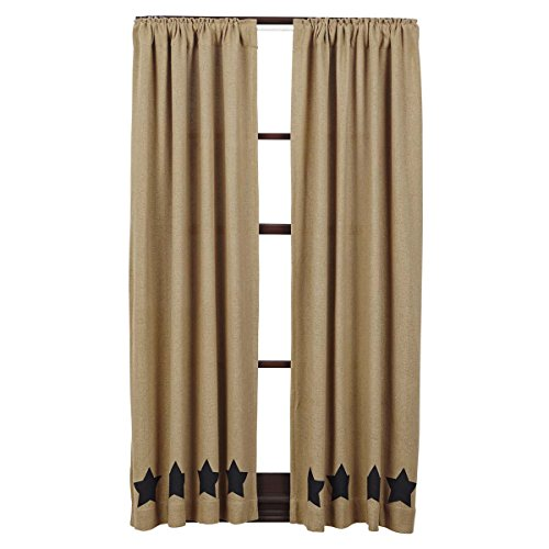 Tan Star - VHC Brands Classic Country Primitive Window Curtains - Burlap w/Stars Tan Short Curtain Panel Pair, Black